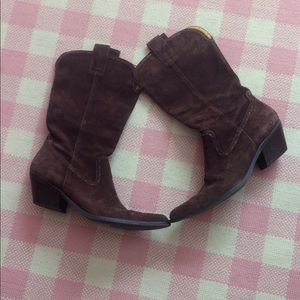 Gianni Bini Chocolate Suede Cowboy Boots